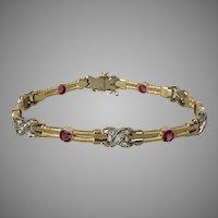 Stunning! 22.2 Grams 14K YG  Pink Tourmaline & Diamond Bracelet 8-1/8 Inch