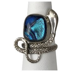 Hand Made Dichroic & Snake Ring Sterling Silver Size 9-1/2