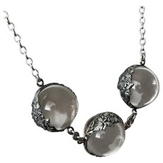 Stunning! Antique Pools of Light with Sterling Silver Chain 19-Inches