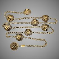 Beautiful CHANEL 33-Inch Lion Head Station Necklace Gold Tone
