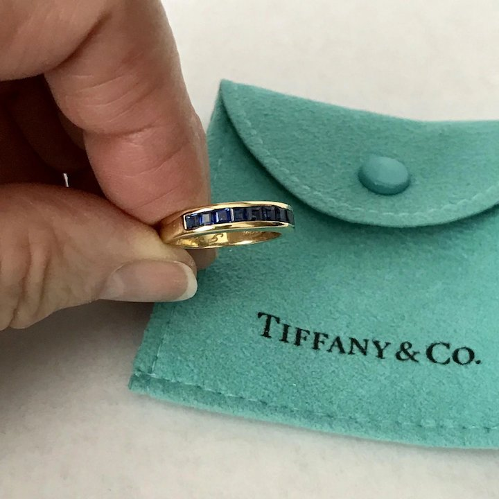 0a5eb81b4 Tiffany & CO, Blue Sapphire Band, Channel Set Square Cut 18K Yellow Gold  Ring