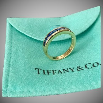 Tiffany & CO, Blue Sapphire Band, Channel Set Square Cut 18K Yellow Gold Ring Size 5-3/4