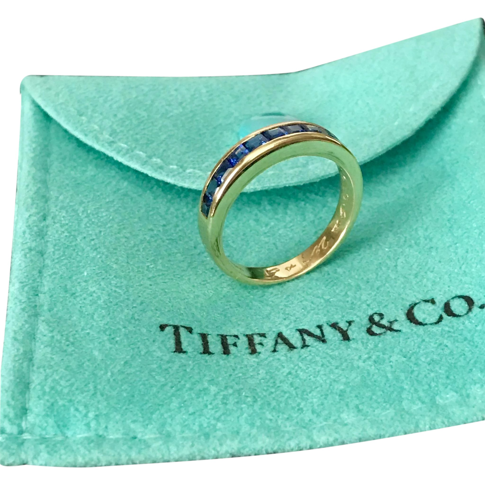 f84ac2a18 Tiffany & CO, Blue Sapphire Band, Channel Set Square Cut 18K Yellow :  Ann-tiques and Fine Jewelry | Ruby Lane
