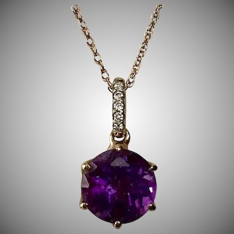 14K Rose Gold Amethyst & Diamond Pendant with 14K Rose Gold Chain