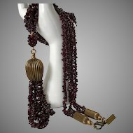 Garnet, Brass, Necklace, Vintage Jan Michael 36-Inches