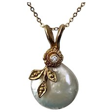 Diamond, Cultured Coin Pearl, Floral Motif, 14k Yellow Gold, Pendant