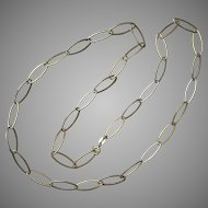 Sterling Silver, Vermeil,  Oval Link Chain, 23-Inches
