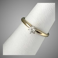 Diamond Solitaire Ring, 0.20 CTW, Size 5-3/4, 10K Yellow Gold