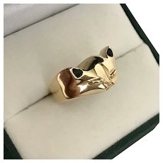 Solid, 14K Yellow Gold, Cat Ring Size 6-1/2