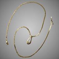14K Yellow Gold, Diamond, Italian Cobra Chain, Necklace