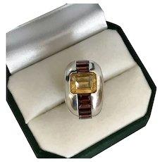 Big, Bold, Beautiful! Citrine, Garnet, Sterling Silver Ring Size 6-3/4