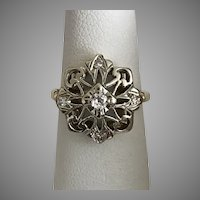 14K 2-Tone Gold, Diamond Snowflake Ring Size 5-3/4