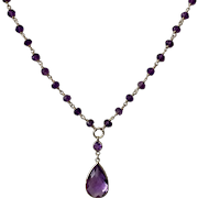 14K Yellow Gold Amethyst Drop 18-1/2 Inch  Necklace