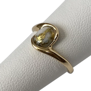Rare Gold-in-Quartz 14K Yellow Gold Ring  Size 6-3/4