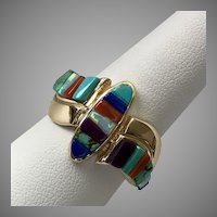 Stunning! Multi-Gemstone Ring 14K Yellow Gold  Size 10-1/4