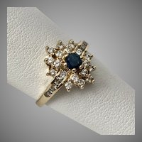 14K Yellow Gold Blue Sapphire and Diamond Ring Size 7-1/2