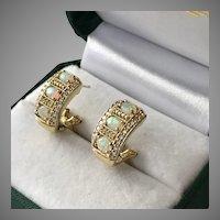 Striking! 14K Yellow Gold Opal & Diamond  Earrings