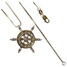 Gorgeous! 1.00CTW Diamond Ship Wheel Pendant 14K Yellow Gold with Chain