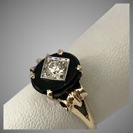 Art Deco Transitional Cut Diamond  Black Onyx Ring 1930s  Size 7-1/4