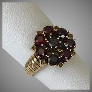 14K Yellow Gold Garnet Cluster Ring Size 6-1/4