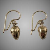 9KT English Victorian Acorn Earrings