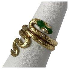 Italian 18K Yellow Gold Mid-Century Enamel Snake Ring Size 6-1/2