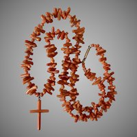 Victorian Orange Branch Coral Necklace with Coral Cross 21-Inches