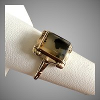 Art Deco 14K Yellow Gold Dendrite Agate Ring Size 7-1/4