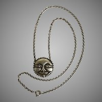 Wonderful! Vintage Sun Face/Man in the Moon Split Chain  Sterling Silver Necklace