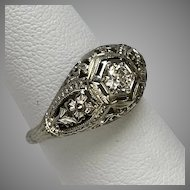 18K White Gold Filigree Art Deco Diamond Ring  Size 6