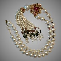 Beautiful Gold Vermeil Freshwater Pearl, Ruby, and Tourmaline Necklace