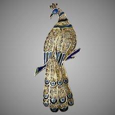 Vintage German/Czech Enameled Filigree/Spun Silk Peacock Pin