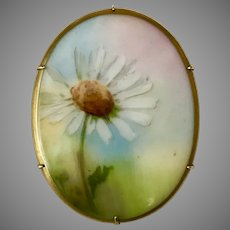 Antique Hand Painted Floral Brooch