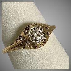 Art Deco 14K YG Filigree Diamond Ring Size 5-1/2