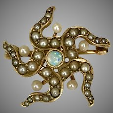 Lovely Late Victorian Opal and Seed Pearl Pin