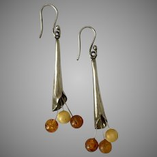 Handmade Sterling Silver Calla Lily and Amber Earrings