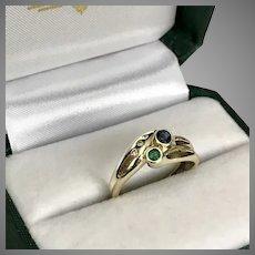 14K YG Emerald Sapphire and Diamond Ring Size 7