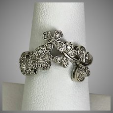 14K WG Butterfly and Floral Ring Size 7-1/4