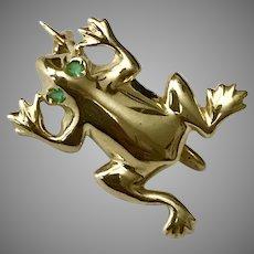 Italian 14K YG Frog Pin with Emerald Eyes
