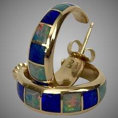 Beautiful 14K YG Opal Inlay Hoop Earrings