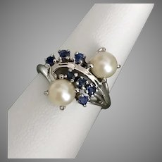 14K WG Blue Sapphire and Pearl Ring  Size 6-1/4