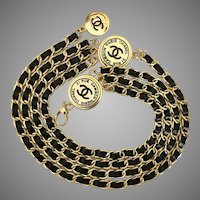Very Rare Vintage 3-Medallion CHANEL Chain & Leather Belt
