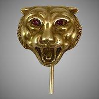 Antique 14K YG Ruby Eye Lion Stickpin
