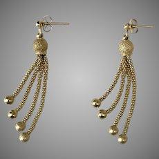Beautiful 2-Inch 14K YG Tassel Earrings