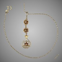 14K YG Antique Diamond Drop Necklace with 14K YG Chain
