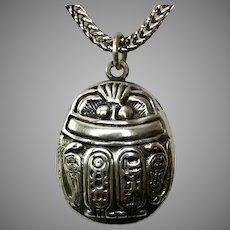 Egyptian Revival Scarab Hieroglyphs Sterling Silver Pendant