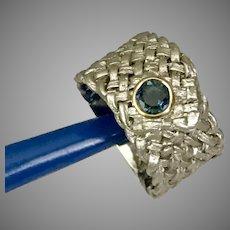 Modernist London Blue Topaz Sterling Silver Woven Ring