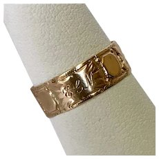 Antique Victorian Engraved Rose Gold Band Size 7-3/4