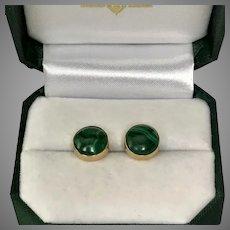 18K YG Malachite Button Earrings