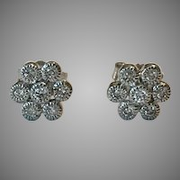 14K WG 0.28 CTW Diamond Cluster Stud Earrings